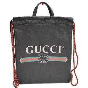 Gucci Drawstring Logo Print Calfskin Handbag